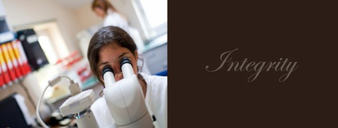 Banner for the AIJV showing a Gemmologist examining a gemstone with a microscope
